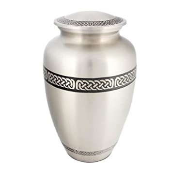 Silverlight Urns Celtic Band Cremation Urn, Irish Themed Urn for Ashes, Adult Brass Urn, 10 Inches Tall