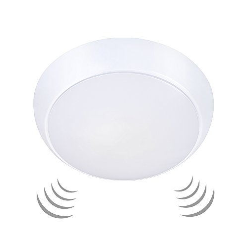 Ustellar 15W Motion Sensor LED Ceiling Lights Waterproof, 1200lm (120W Equivalent), 10inch Flush Mount Round Ceiling Light Fixture for Outdoor Hallway Garage Stairs, 3000K Warm White - Light Outdoor Ceiling Fixture