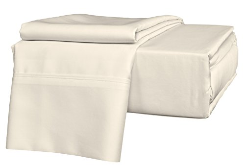 Brielle 630 Thread Count Egyptian Cotton Sateen Premium 600 Plus Sheet Set, King, Ivory