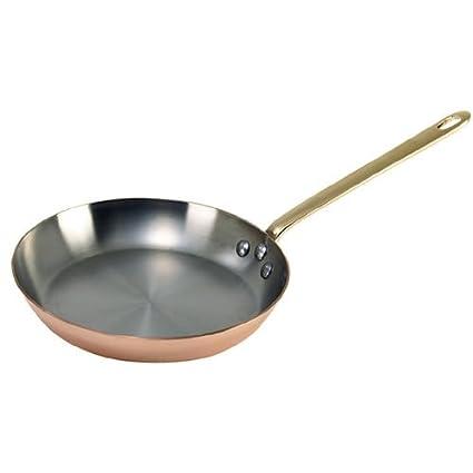 De Buyer Sartén para freír (cobre y acero inoxidable, engastes de bronce)
