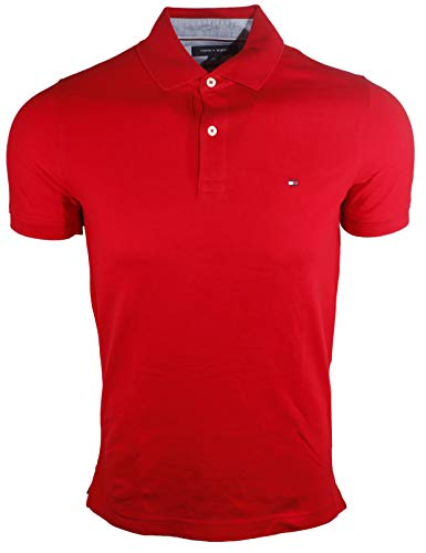 Tommy Hilfiger Mens Stretch Slim Fit Pique Polo Shirt (Large, Red)
