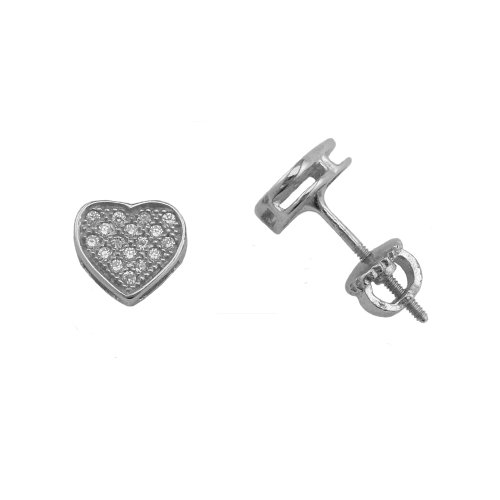 ES916-s Sterling Silver 7.5mm Small Heart Micro Pave Icedout CZ Screw Back Earrings