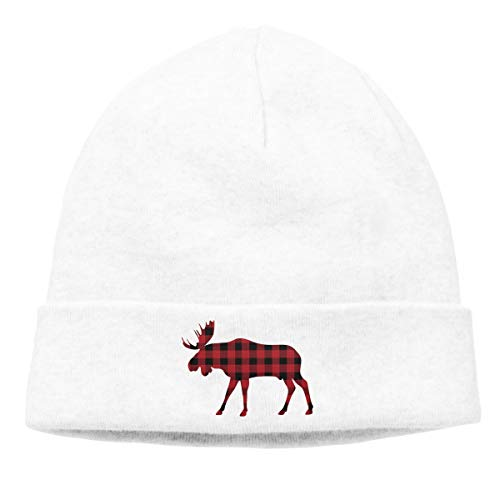 Hip-Hop Knitted Hat for Mens Womens Buffalo Plaid Moose Red Black Unisex Cuffed Plain Skull Knit Hat Cap Head Cap