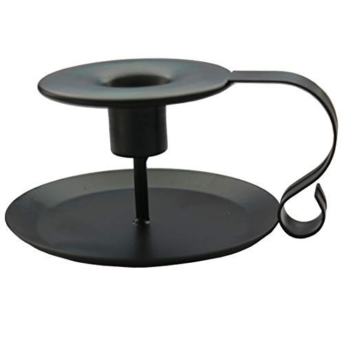 - jatzde Matte Black Chamberstick - Wrought Iron Taper Candlestick Holder Intended for Windowsills, Table Top and Mantle Displays, Centerpieces, Wedding and Home Decor (1 Pcs)
