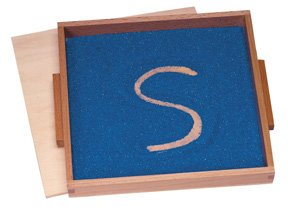 Montessori Wood Sand Writing Therapy Tray with Lid and Colored Sand by Montessori N' Such