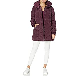 Steve Madden Women's Long Chevron Quilted Outerwear Jacket
