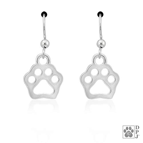 Sterling Silver Tiny Flat Dog Paw Print Cutout Earrings with French -