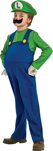 Boys Deluxe Luigi Kids Child Fancy Dress Party Halloween Costume, L (Luigi Deluxe Childrens Costumes)