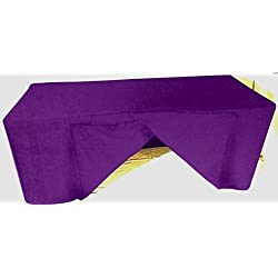 6 Feet Tablecloth Slit Back Fitted Polyester Table Cover Wedding Banquet Trade Show Booth Dj Purple