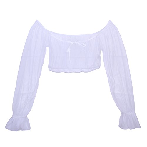 SO SEXY LINGERIE (TM) Sheer Long Sleeve Wench Corset Peasant Crop Top 2x White (Sexy Peasant Tops)
