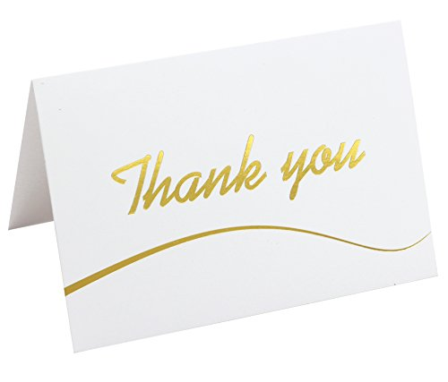 110 Photo Pack (110 Highest Quality Elegant Thank You Cards in White with Envelopes and Stickers - Bulk Notes Embossed with Gold Foil Letters for Weddings, Graduations, Engagements, Business, Formal, Baby Shower, 4x6)