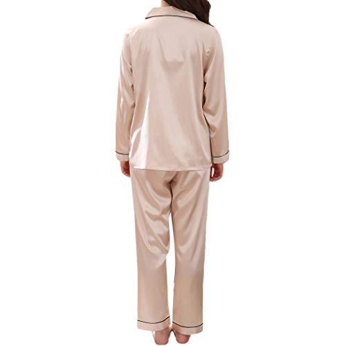 Beige Sous Mujer Classique 2 De Ensemble Femme Pcs Femmes vêtements Nightwear Vêtement Pyjama Vêtements Nuit Satin xqZ0WwOtP