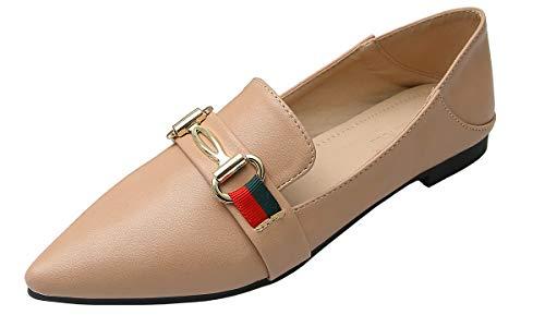 Modenpeak Womens Ballet Flats Classic Horsebit Pointy Toe Slip On Comfort Dress Shoes Apricot 8.5