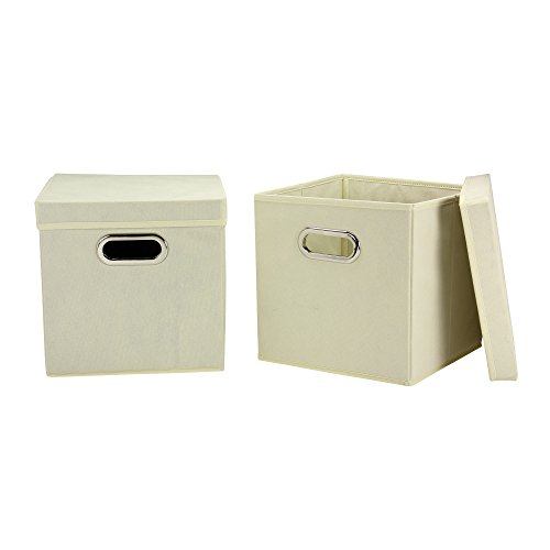 Household Essentials 39-1 Decorative Storage Cube Set with Removable Lids | Natural | (Colored Lid)