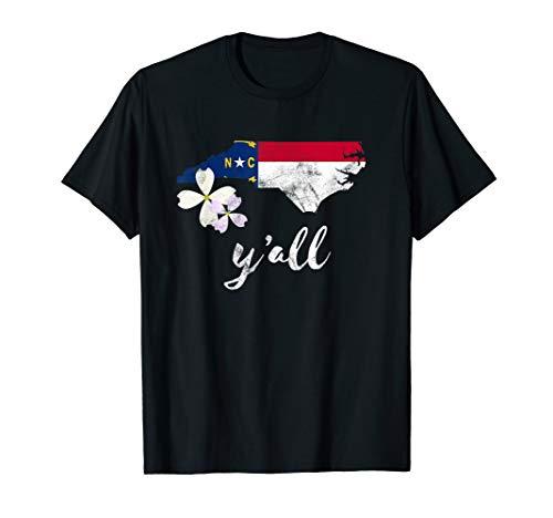- Vintage State of North Carolina Shirt Y'all Flag Dogwood