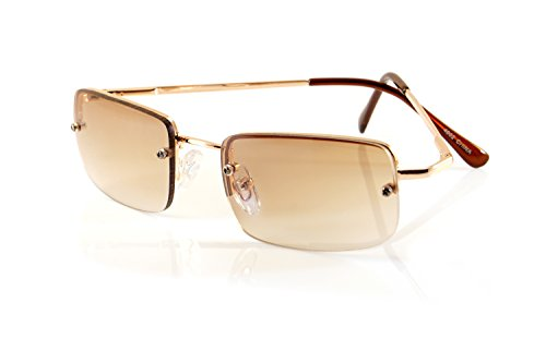 FBL Minimalist Small Rectangular Color Tinted Sunglasses Spring Hinge A125 (Gold/ Brown GR)