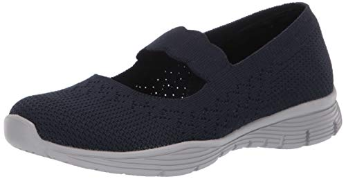- Skechers Women's Seager-Power Hitter-Engineered Knit Mary Jane Flat, Navy, 5.5 M US