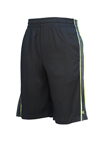 Spalding Mens Active Dimple Mesh Basketball Gym Athletic Workout Shorts With Contrast Epic Knit Side Piping Black Small