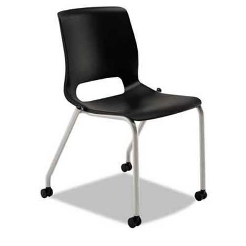 HON Motivate Seating 4-Leg Stacking Chair, Onyx/Platinum, 2/