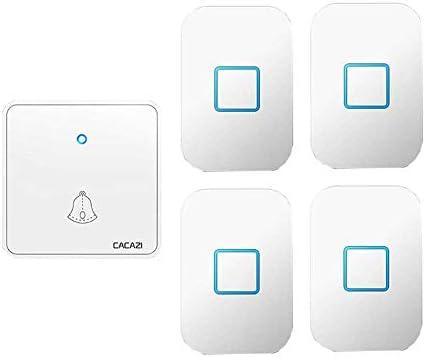 ウォールプラグインコードレスドアチャイム、1000フィートレンジのポータブル電動ドアベルキット、60トーン5ボリュームレベル4プッシュボタンと1レシーバー,白