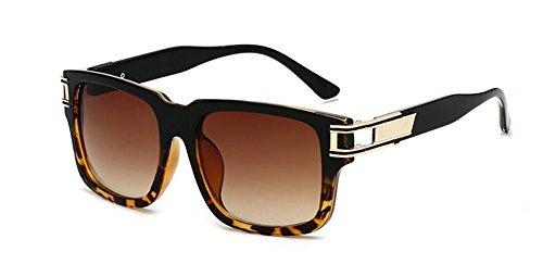 Cadre Lennon inspirées du de en Léopard rond Noir polarisées cercle style vintage métallique retro soleil lunettes tqUOwd88