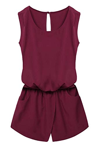 Cut Solid Playsuitscort Jumpsuit Long Back Front Elastic Romper Drawstring Women Romped Button Garment Pocket Out Ave Woman Crewneck Waist Mat Scorts Wine Red