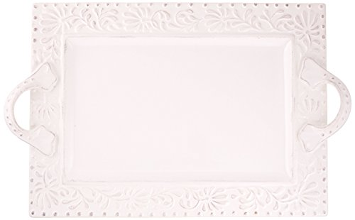 Platter White Leaf (American Atelier Bianca Leaf Rectangle Platter)
