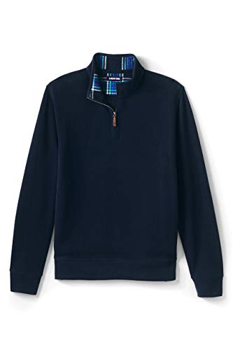 Lands' End M Bedford Heather Sherpa Lined Half Zip Mock Radiant Navy Tall X-Large
