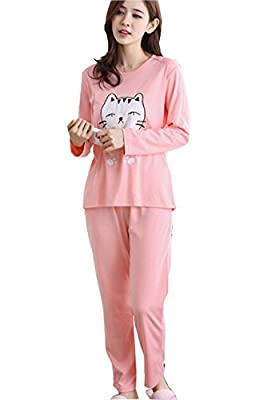 Cinyifan Cute Cat Printed long Sleeve Sleepwear Pajamas Set For Girl