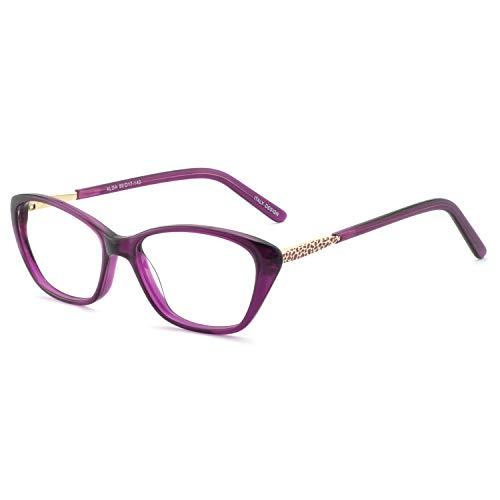 Eyewear Frames-OCCI CHIARI-Rectangle Lightweight Non-Prescription Eyeglasses Frame with Clear Lenses For Womens (B-Purple(Anti-blue light)) ()