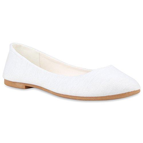 Klassische Damen Ballerinas Leder-Optik Flats Schuhe Übergrößen Flache Slipper Spitze Prints Strass Flandell Weiss Hellbraun