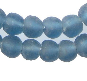 African Recycled Glass Beads - Full Strand Eco-Friendly Fair Trade Sea Glass Beads from Ghana Handmade Ethnic Round Spherical Tribal Boho Krobo Spacer Beads - The Bead Chest (14mm, Light Blue) (565 Glasses)