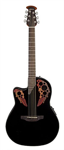 Ovation Celebrity Collection 6 String Acoustic-Electric Guitar, Left, Black (CE44L-5)