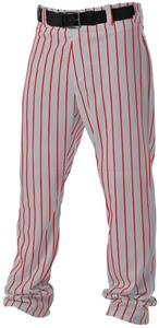 Alleson Athletic Adult Pinstripe Baseball Pant, Grey/Scarlet, Small  ()