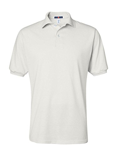 - Jerzees Men's Spot Shield Short Sleeve Polo Sport Shirt, White, Medium