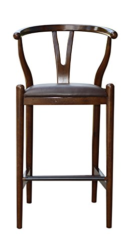 Boraam 52029 Wishbone Bar Height Stool, 29-Inch, Cappuccino (Furniture Sonoma Leather)