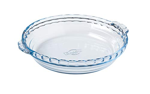 International Cookware 197BC00 Plate Ôcuisine Borosilicate Glass Pie Dish w/handles 8.65 Inches, 1.3L, Clear