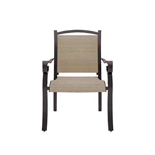 Ashley Furniture Signature Design – Bass Lake Outdoor Sling Chair – Set of 4 – Rust Proof Aluminum – Beige Brown