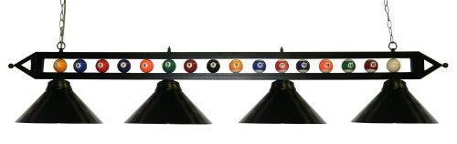 72″ Black Metal Ball Design Pool Table Light Billiard Lamp Choose Black, Red, Green Metal Shades or White Glass (Black Metal Shades) For Sale
