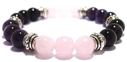 - BREAST CANCER FIGHTER 8mm Crystal Healing Gemstone Intention Bracelet