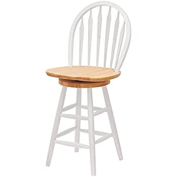Winsome Wood 24-Inch Windsor Swivel Seat Barstool Natural/White  sc 1 st  Amazon.com & Amazon.com: Home Styles 5002-89 White and Distressed Oak Finish ... islam-shia.org
