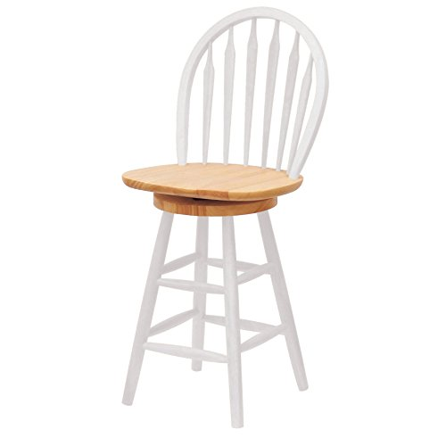 Winsome Wood 24-Inch Windsor Swivel Seat Barstool, Natural/White by Winsome Wood