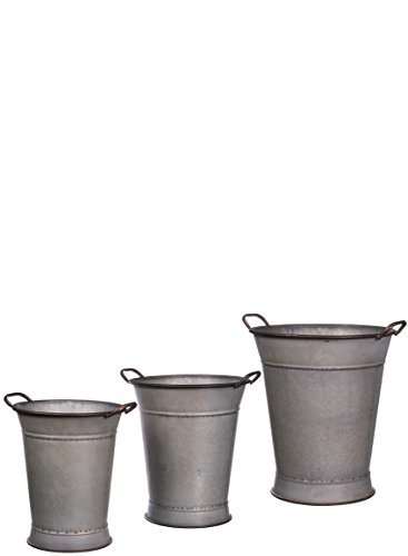 Sullivans Handled Vintage Rustic Urns/Containers (Set of 3), 16.5