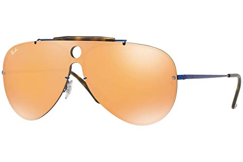 Ray-Ban RB3581N Blaze Shooter Aviator Sunglasses, Blue/Dark Orange Mirror, 32 mm