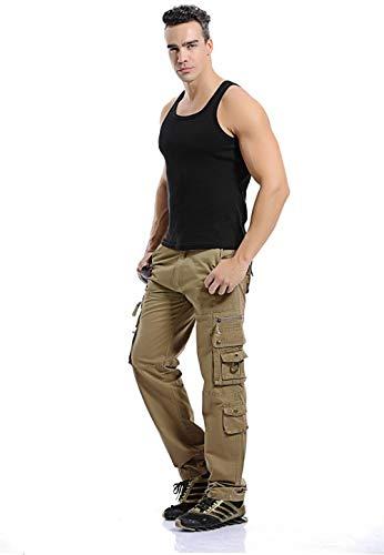 ee57877c3578f pocket Lavoro Uomo Uomo Cachi Chino Militari Pantaloni Multi Lungo Tattici  Di Nmy Cargo Cargo Da OfnxH