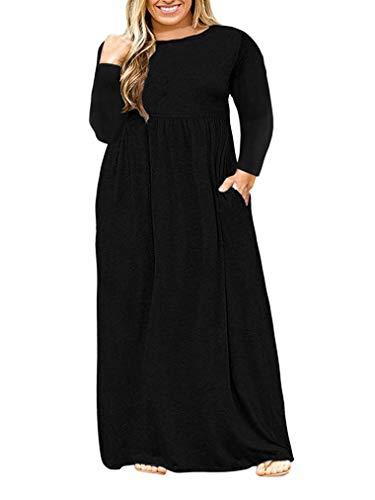VISLILY Womens XL-4XL Plus Size Maxi Dress Long Sleeve Plain Long Dress with Pockets