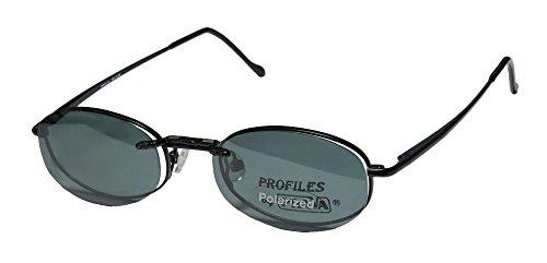 Prava 338 Mens/Womens Oval Full-rim Sunglass Lens Clip-Ons Spring Hinges Eyeglasses/Glasses (48-19-140, Black) by Prava