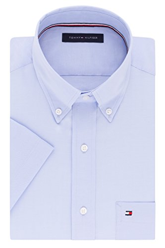 Tommy Hilfiger Men's Short Sleeve Button-Down Shirt, Danish Blue, 16.5