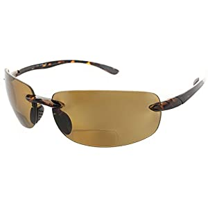 Maui Island Life Bifocal Sunglasses Rimless Wrap Sun Readers Lightweight TR90 Frame for Men and Women - Available in Polarized or Non Polarized Lens