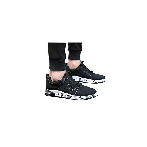 Wingfooted Nouvelles Chaussures Résistant À L'usure Baskets Respirant Maille Hommes De Style De Chaussures De Course Lacets Sport Pour Les Hommes En Noir Et Blanc